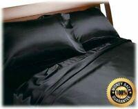 BLACK - SATIN SHEETS QUEEN Size Soft Silk Feel Bedding 4pc Set Luxury Bed Linen