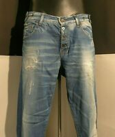 BENETTON JEANS men's LOOSE distrassed aged embroidered ligth blu denim size W 32