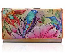 """Da Donna Anuschka dipinti a mano in vera pelle """"Bird PRIMAVERA PASSION"""" BORSA WALLET"""