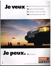 Publicité Advertising 1988 Location de voiture Europcar