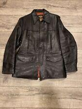 Vtg 50s Harley Davidson Townsman Motorcycle Horsehide Long Leather Jacket - 40
