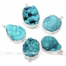 Natural Blue Druzy Crystal Quartz Gemstone Cluster Freeform Pendant For Necklace