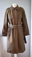 JIGSAW Coat Khaki Brown Shade 100% Cotton Long Belted Jacket Unlined Mac Size 10