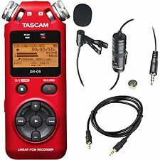 Tascam DR-05 Portable Handheld Digital Audio Recorder (Red) with Deluxe acces...