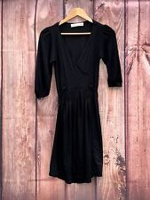Womans Little Black Zara Basics Ladies Pleated Front Evening Dress size M Tie up