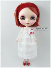 WHITE SEE THROUGH NETTING MAXI DRESS FOR NEO BLYTHE PULLIP DOLL ASPIRINNO-154