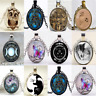 Fashion Novelty Cabochon Tibetan silver Round Glass Pendant Chain Necklace Gift