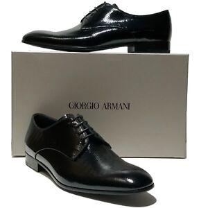 Giorgio Armani Pebbled Patent Leather Formal Dress Oxford 10.5 43.5 Mens Tuxedo