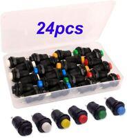 🔴 24 PCS Interruttore A Pulsante ON/OFF AC 250V /1,5 A a Scatto 6 Colori