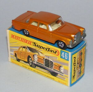 MATCHBOX SUPERFAST #46a MERCEDES 300SE COUPE HOLLOW WHEELS NEAR MINT BOXED