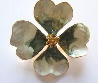 Pin/Brooch- Flower- green & white- metal enamel- gold tone- detailed design