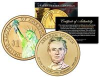 ABRAHAM LINCOLN 2010 Presidential $1 Golden Dollar U..S Coin HOLOGRAM 2-SIDED