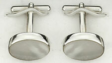 Mother of Pearl Cufflinks Solid Sterling Silver Hallmarked Handmade