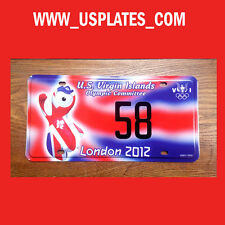 2012 OLYMPIC GAMES LONDON US VIRGIN ISLAND LICENSE PLATE SPORT TAG LOW NUMBER 58
