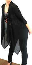 Black Sheer Drape Cardigan Wrap Jacket Ladies Throw Shawl Evening Medium LAST