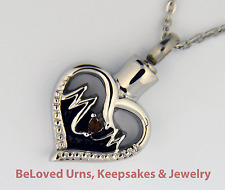 """""""Mom"""" With Red Stone Cremation Jewelry Pendant Urn with 20"""" Necklace and Funnel"""