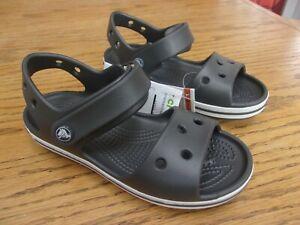 Crocs Crocband Kids Black/ White Ankle strap Sandals US Kids size 12 New W/ Tag