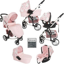MY BABIIE *KATIE PIPER* TRAVEL SYSTEM PINK BUTTERFLY PRAM / PUSHCHAIR MODE