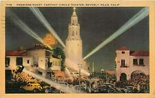 Linen Postcard CA G514 Cancel 1940 Premiere Carthay Circle Theater Beverly Hills