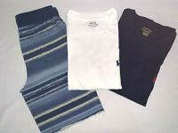 POLO  Ralph Lauren White/Blue Boys Short Sleeve T-Shirt M(10-12) & pants S(8)