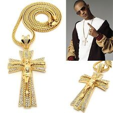 """MENS ICED OUT HIP HOP GOLD CROSS & JESUS PENDANT W/ 36"""" FRANCO CHAIN NECKLACE"""
