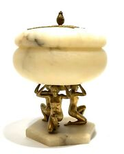 Antique Art Deco Germany Bronze & Alabaster Figural Covered Compote