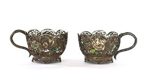 Pair 1920's Japanese Solid Silver Enamel Tea Cup Holder Chrysanthemum Flowers