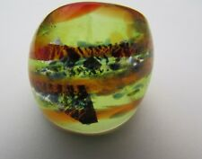 Glass Ring. Uk-R. Us-8.5 (137!) A Yellow/Orange/Silver & Blue Murano Style