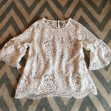 L New ANTHROPOLOGIE Womens Bohemian White Eyelet Lace Detail Top Blouse - Large
