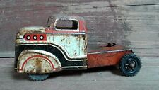 Vintage Orange Black and White Metal Toy Truck Tractor