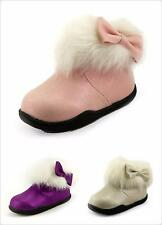 Beautiful Girl's Winter Glitter Ankle Boots With Furry Bow on side Toddler size