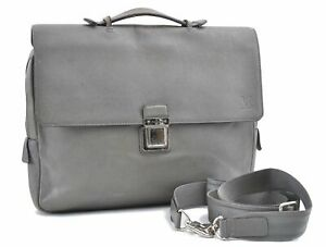 Auth Louis Vuitton Taiga Vassili PM Brief Case Business Bag Gray M32641 LV D6276