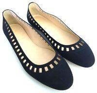 J.Crew Nora Suede Lattice Ballet Flats Womens Size 7.5 Black Slip On Shoes