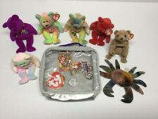 Lot 7 Ty Beanie Babies Beanie Plush Stuff Animal Toy Coins Bag Cards Tags