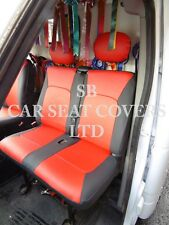 TO FIT A RENAULT MASTER HORSEBOX VAN, SEAT COVERS, RED / BLACK LEATHERETTE