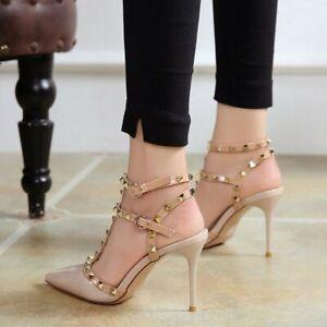 Women's Rivets Sandals Summer Stiletto Toe High Heel Sexy Pumps Nightclub Shoes