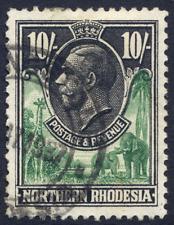 NORTHERN RHODESIA 1925-29 KGV DEFINITIVE 10/- GREEN & BLACK VERY FINE CDS USED