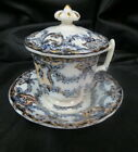 17 or 1800 s Flow Blue Pot De Creme covered 3 piece soup not marked   RARE   old