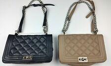 Steve Madden Black/ Brown Perfect Crossbody Handbag With Chain Handle Strap