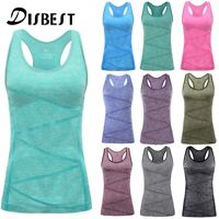 Women Summer Casual Shirt Yoga Tank Tops Sports Workout Top Vest With Bra Chest
