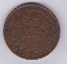 1853 PORTUGAL 20 REIS IN NEAR VERY FINE CONDITION