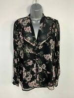 WOMENS RIVER ISLAND SIZE 14 BLACK FLORAL LONG SLEEVE V NECK CASUAL SHIRT BLOUSE