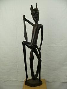 Makonde Figur Teufel mit Schlange Tansania Afrika Ebenholz Holz Handarbeit 68 cm