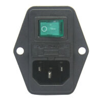 Green LED Rocker Switch Fuse Holder IEC320 C14 Inlet Power Socket AC250V 10A