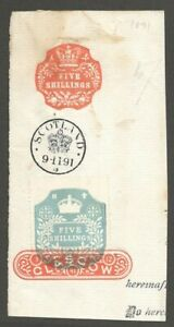 AOP GB Great Britain revenue stamp 5sh + 5sh used GLASGOW 1891
