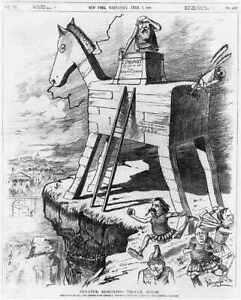 Senator Edmund's Trojan Horse,Political Cartoon,1886,Deserted by Greeks 5289