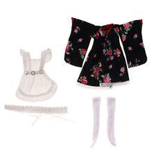 Black Kimono w/ White Apron Stockings Hairband Clothes for 1/6 MSD BJD Doll