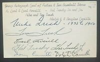 Baseball Father And Sons Signed Index Card Dolph Camilli Hal Trosky Earl Averill