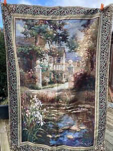"""Large Tapestry Wall Hanging Scene Lily Pond By Veil Oxley Made in USA  54"""" X 80"""""""