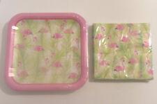 Pink Flamingo Paper Plates Napkins Set Serves 14 Hawaiian Luau Tiki Party
